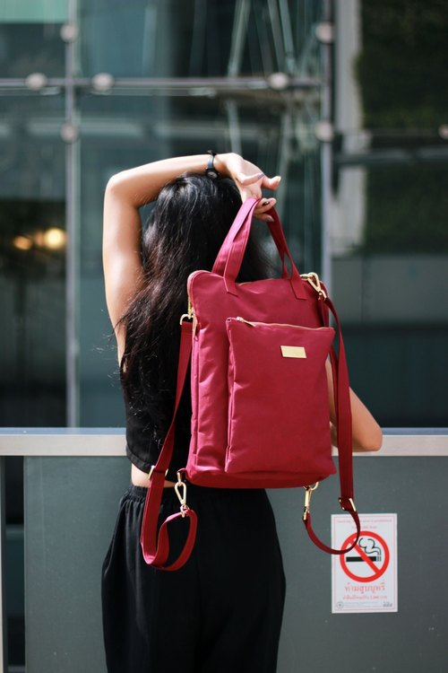 luxury high street jimmytos backpack massager bags maroon.