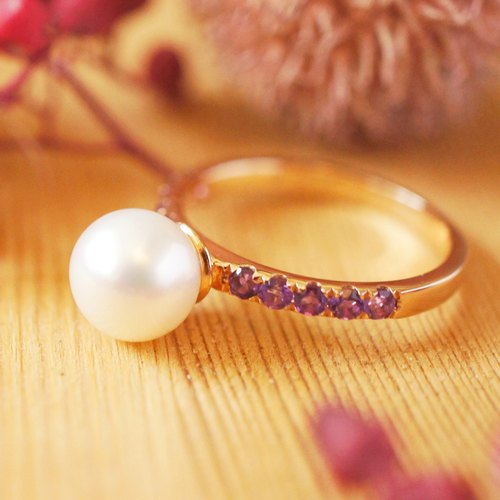 VICTORIA - 7mm Round Freshwater Pearl with Amethyst 18K Rose Gold Plated Silver Ring
