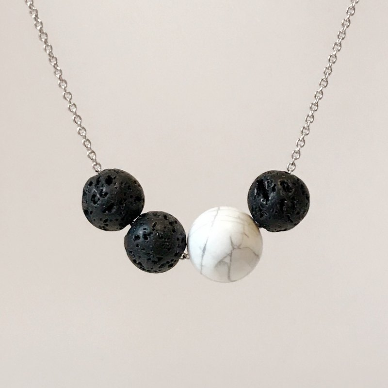 Wen Qing simple white turquoise beads volcanic stone rhodium-plated copper necklace (45cm) gift