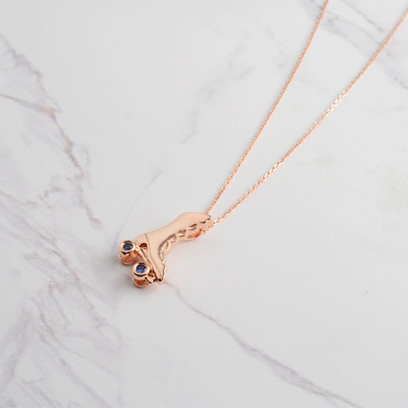 18K rose gold dancing skates necklace