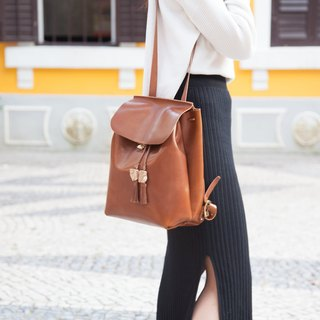Mini Two-ways Backpack / Leather / Backpack / Brown / Shoulder Bag / Handmade