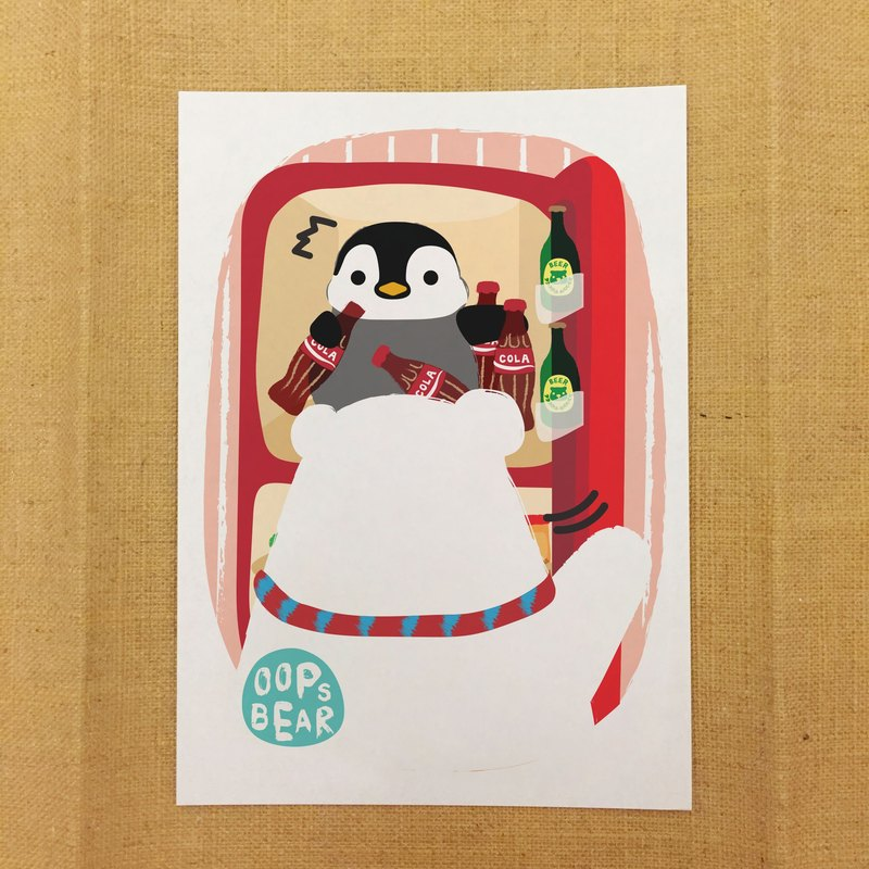 Oops bear - Little penguin hide inside the fridge postcard