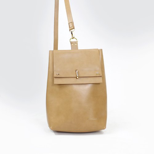 Tanela leather cross body shoulder bag in truffle color
