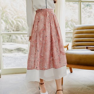 2018 autumn women's new color contrast floral skirt dress