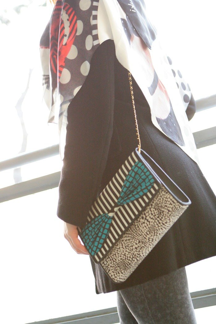 clach bag Super Fly Blue dots borders stripes 3way