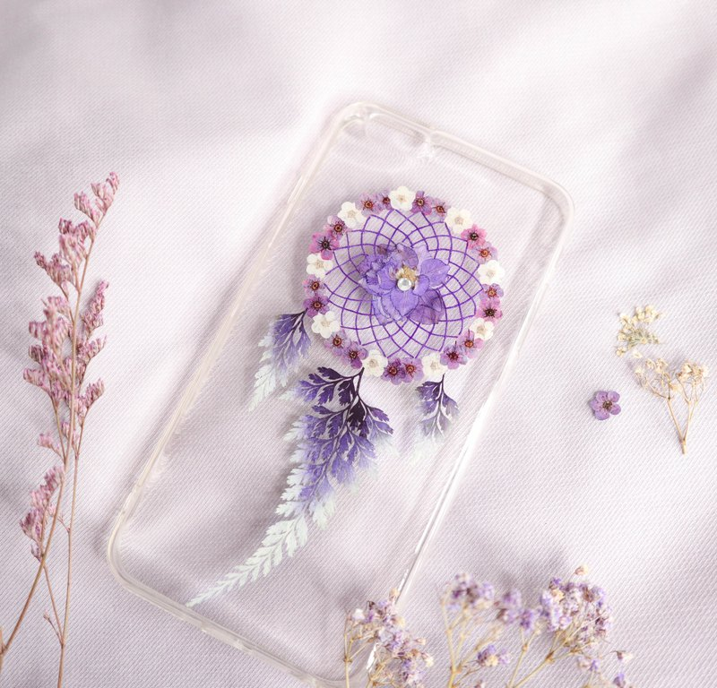 Pressed Flower Dreamcatcher Phone Case | Purple & Off-White