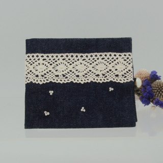 Lace Canvas Little Flower Beaded Facial Tissue Double Inner Pouch Blue