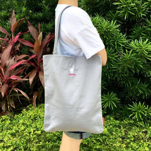 The.Playing.Forest-Alvaro Embroidery Canvas Tote / Grey