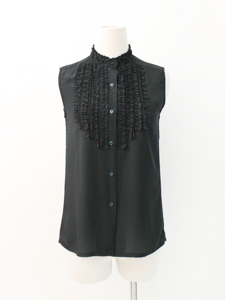 Vintage Japanese Elegant Design Black Sleeveless Vintage Shirt Japanese Vintage Blouse