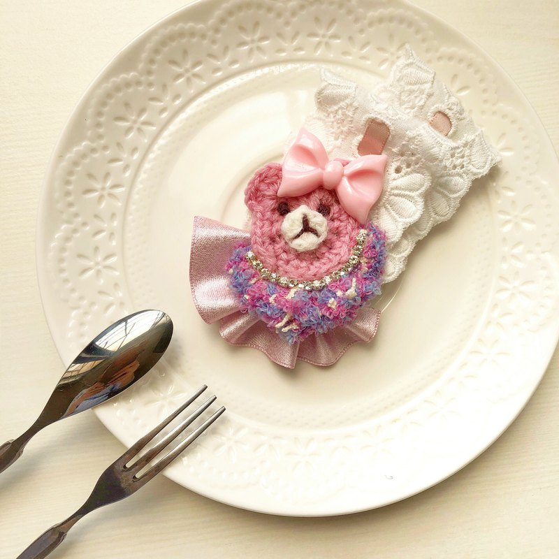 Thousands of proud bear bow lace yarn knitting knit rhinestone hair clip
