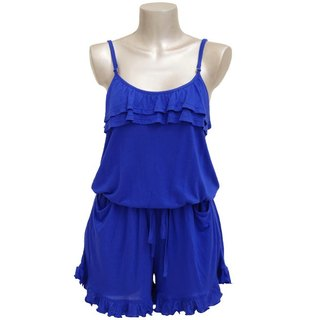 Adult cute camisole ruffle all-in-one <Royal Blue>