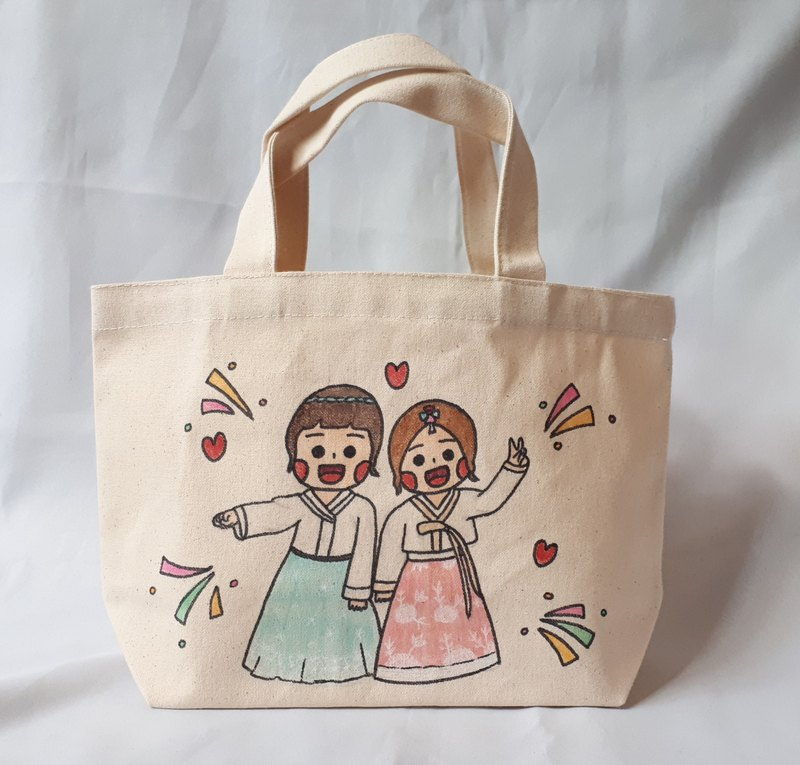 [customized] hand-painted tote bag / small meal bag
