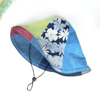 Maverick Village handmade double-sided hat big hat 檐 visor wild [flowers - glass blue] HB-29