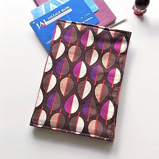 Passport Cover (Purple Brown Leaves)