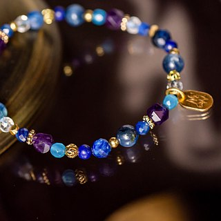 <Slow Temperature Natural Stone> C1227 Blue Crystal Eyebrow Bracelet // Deep Sea Mystery