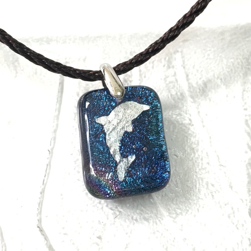 White Dolphin Blue Jewelry Glass Necklace