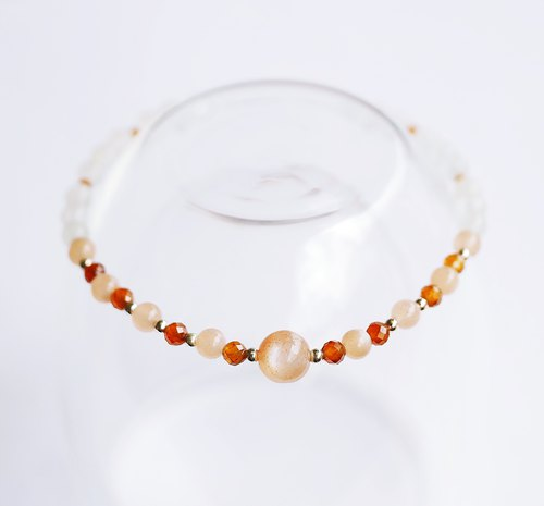 Natural Orange Moonstone White Moonstone 925 Sterling Silver Bracelet Fresh and Elegant