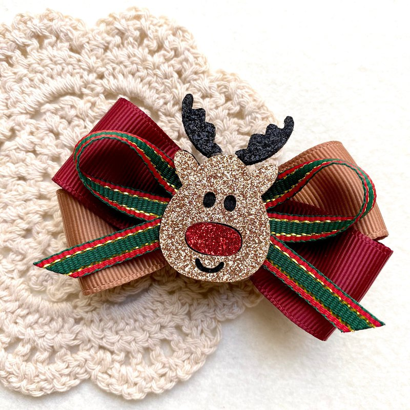 Christmas limited / sequined elk bow hair clip