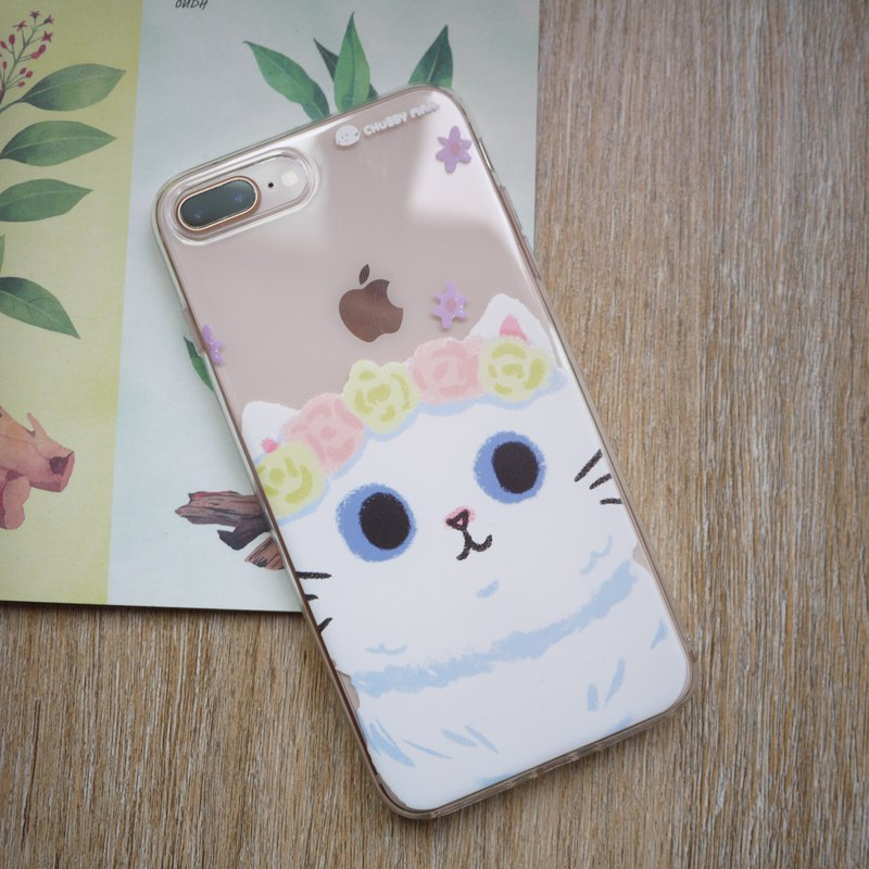 Mobile phone soft shell / happy white cat