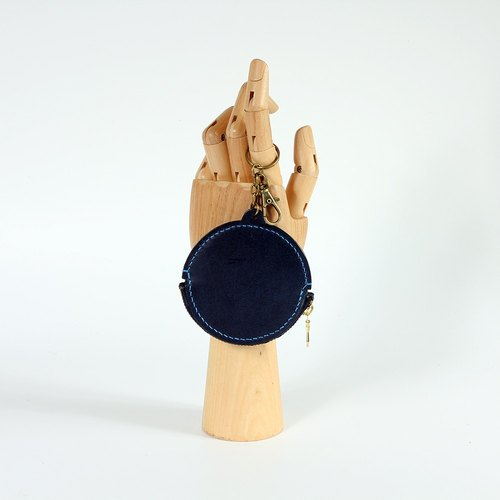 【Keichuan hand-made】 gong burning zipper purse / Italian plant tanned leather / indigo