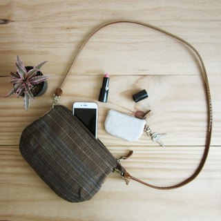 Crossbody Bags mini Curve Hand woven and Botanical Dyed Cotton Brown-Blue Color