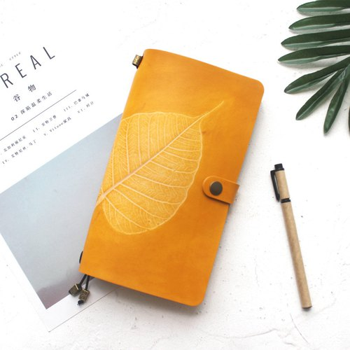 Yellow tea Bodhi Leaf Standard Edition Notebook Pocket Book Leather Notepad Logbook Pocket Book Cover