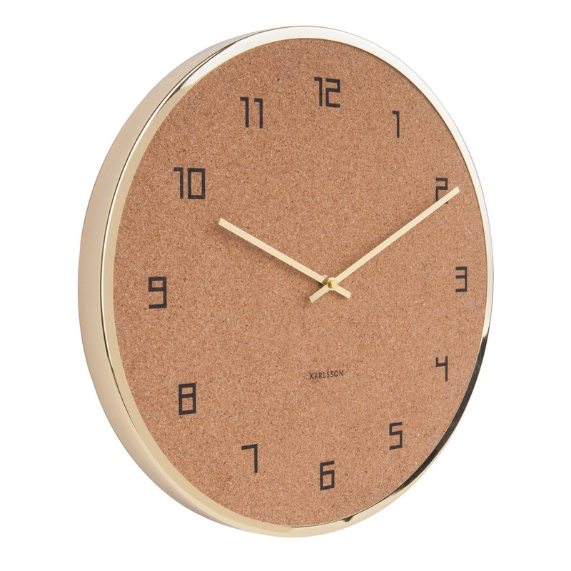 Karlsson wall clock Modest Cork gold, Design Armando Breeveld