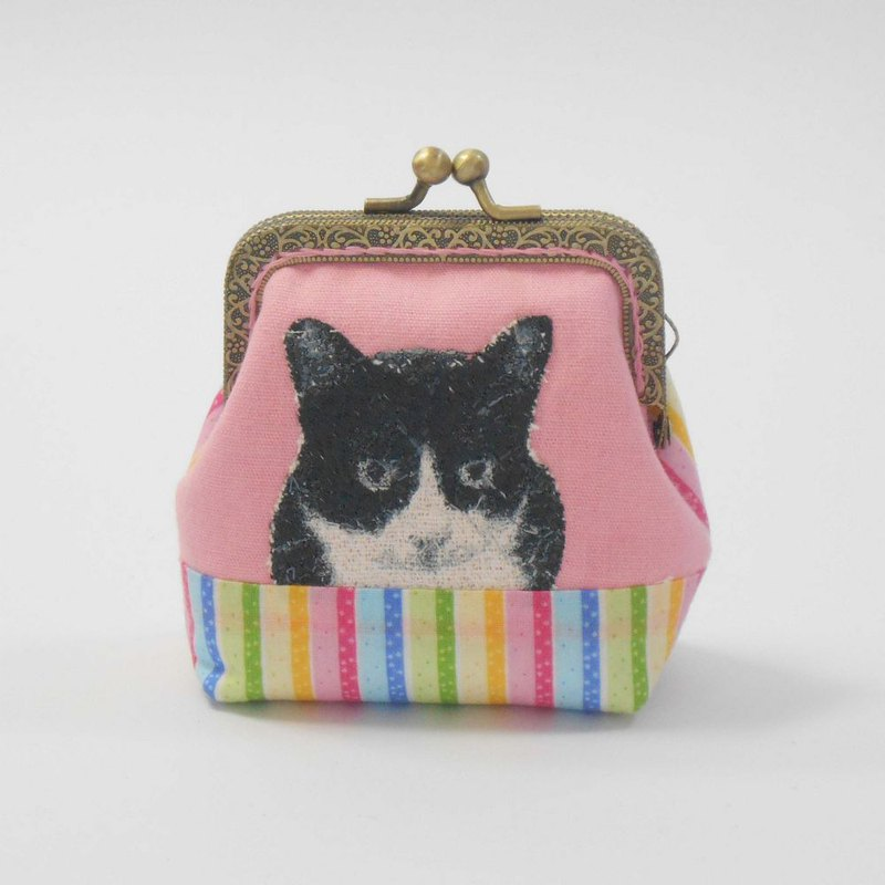 Embroidery 8.5cm gold coin purse 48 - black and white cat