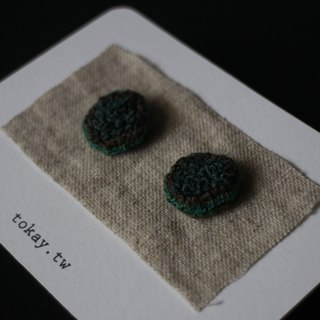 Embroidered earrings with name mossy forest