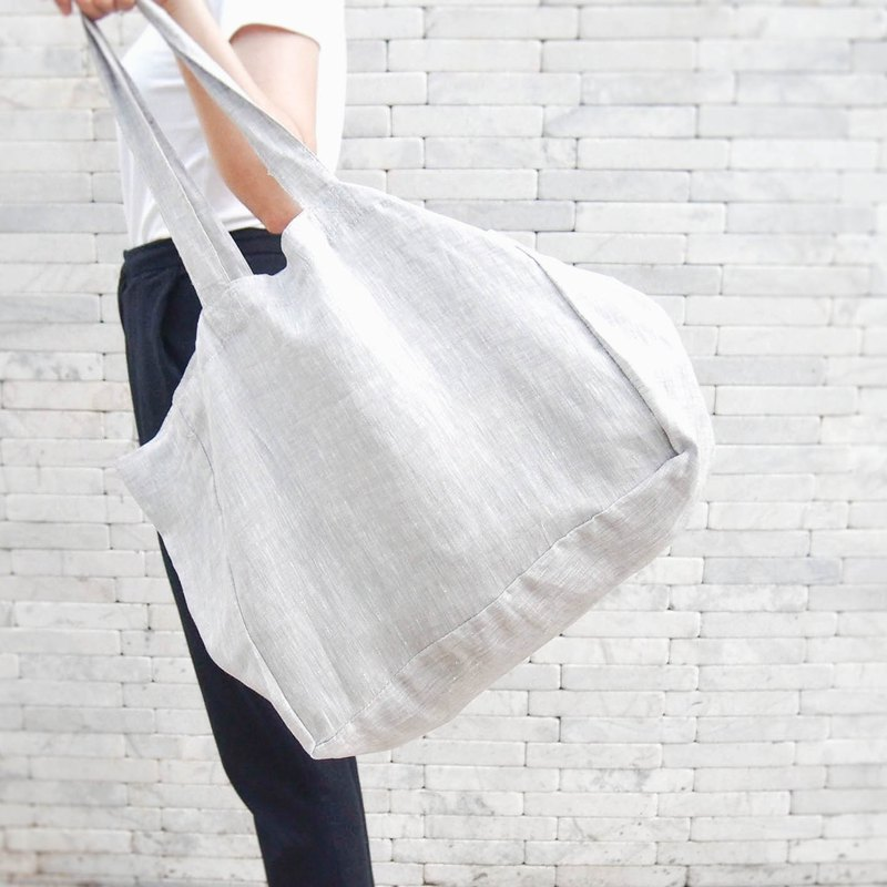 Tilda / Pale grey linen bag