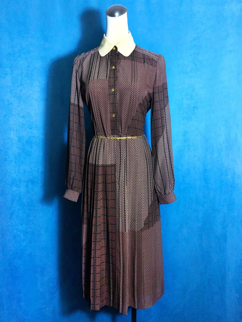 Geometric circle long sleeve vintage dress / abroad brought back VINTAGE