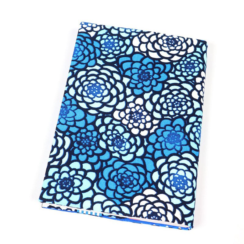A5 cloth book cover mother book cloth book cover book - glass painted flower (blue)