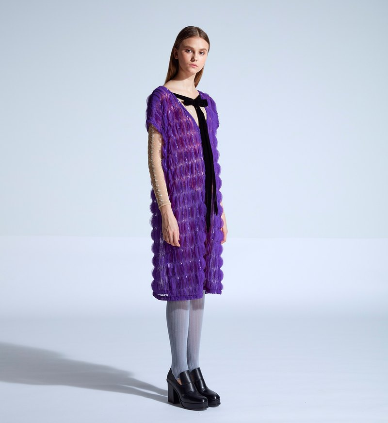 moi non plus Emily Bow Dress - purple - Indian fabrics