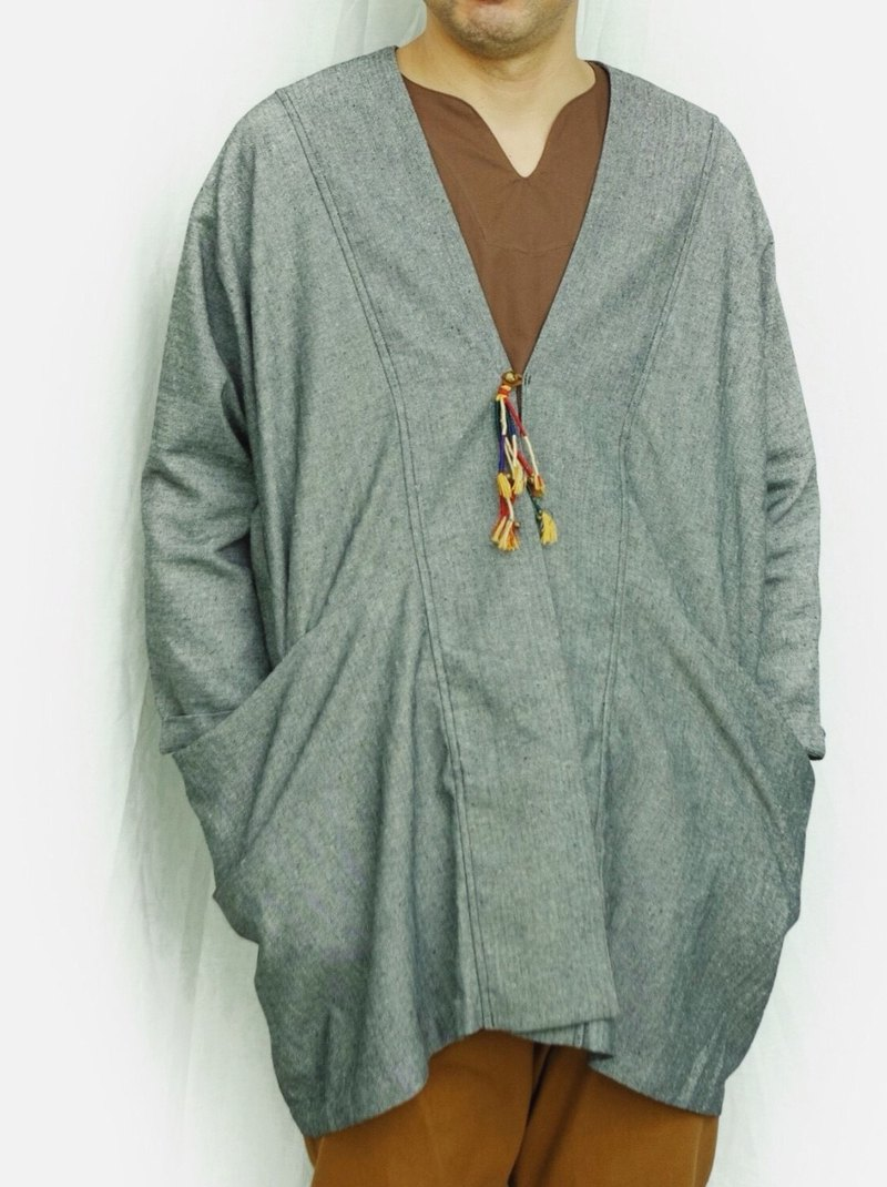 Omake / HAPPIE jacket linen wide cover ash