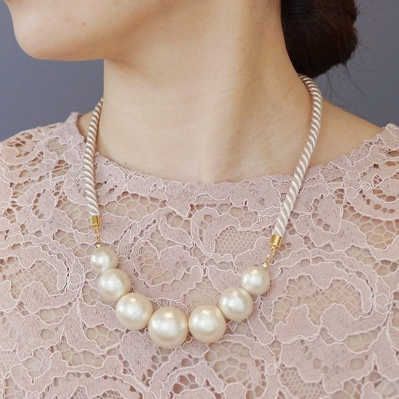 CottonPearl Cord Necklace