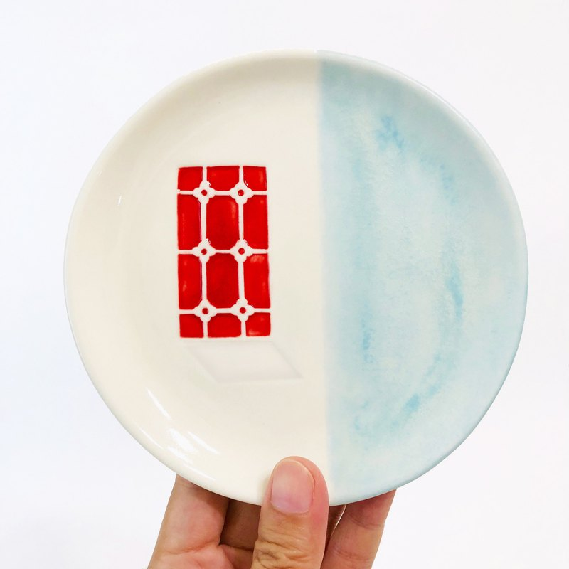 Time Tea Plate / Iron Window / Handmade Ceramic Plate (Red Window View)