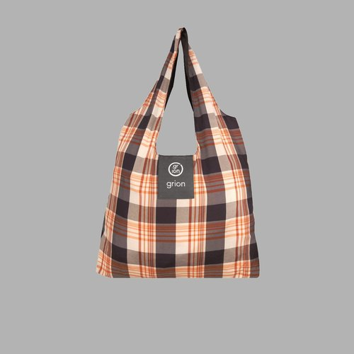 grion bag - Shoulder dorsal section (M) - Limited funds - Orange Black British Plaid