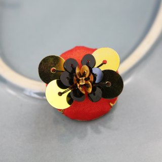 handmade gold and black butterfly brooch,  round butterfly pin