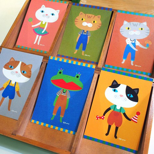 E*group Full Series of 10 Postcard Cat Frogs