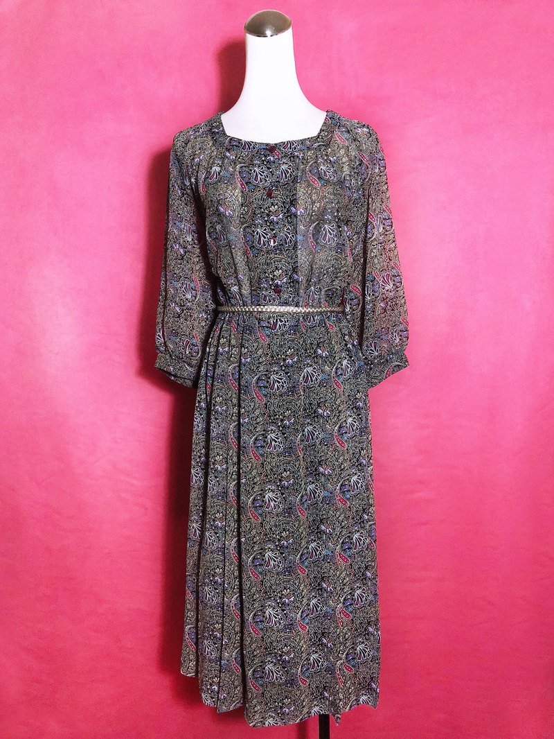 Square collar totem chiffon seven-point sleeve vintage dress / abroad brought back VINTAGE