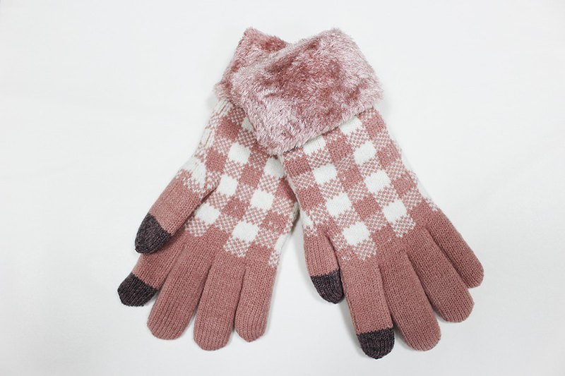 [Winter Gift] Touch Knit Gloves White Plaid Limited