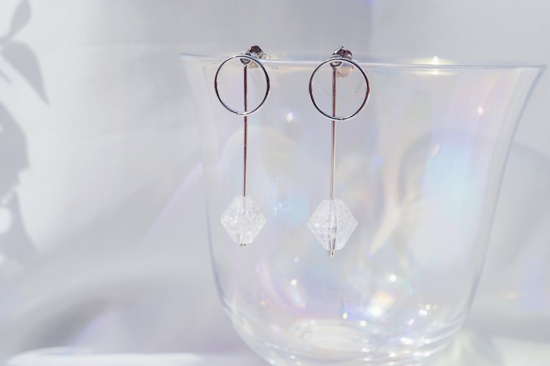 Clear Crystal Bell 925 Silver earrings