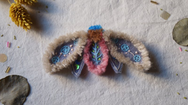 Caramel cotton embroidery wool moth