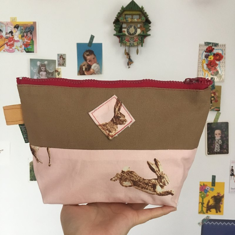 "cute handmade pink ""Run Bunny Run"" cotton and canvas pouch / clutch / bag / penc"