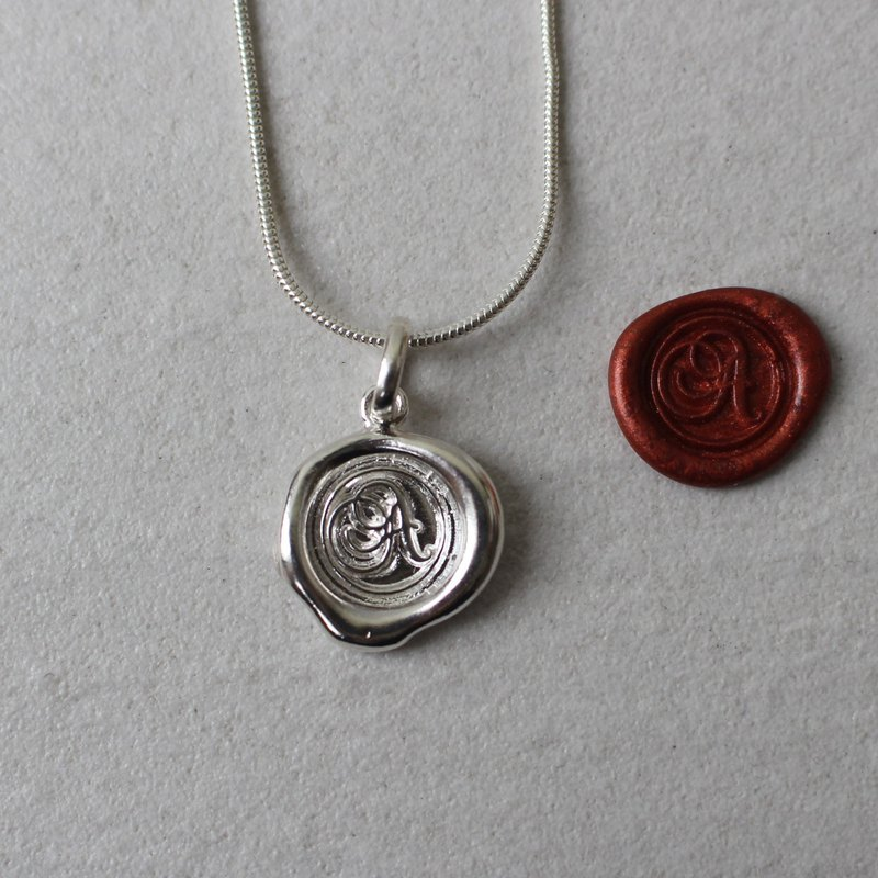 Initial Monogram A / Make a Mark Personalised 925 Silver Wax Seal Necklace