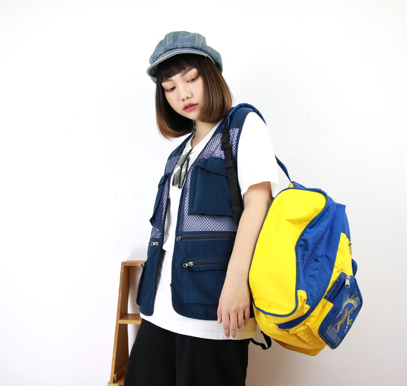 Back to Green Fisherman's Vest Midnight Big Blue Pocket//Everyone Can Wear Vintage F-04