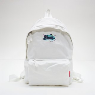 [ Feliz ] Aristocat Embroidery Canvas Backpack ( White )