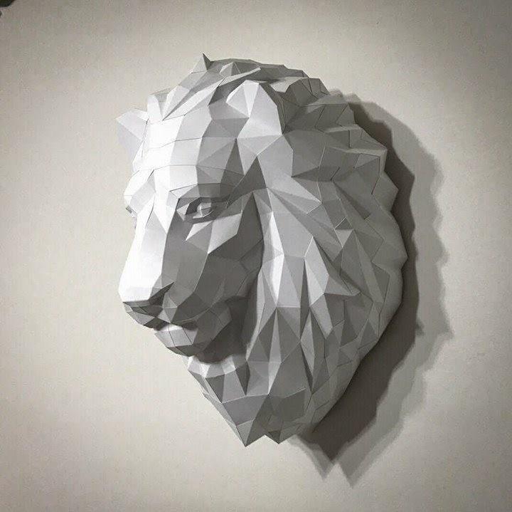 正版匠紙_DIY 材料_紙模型_禮物_手作_王者獅子壁飾