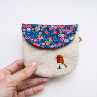 Robin Embroidered Liberty Print Wee Pouch