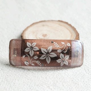 Transparent,carve flower barrette-brown